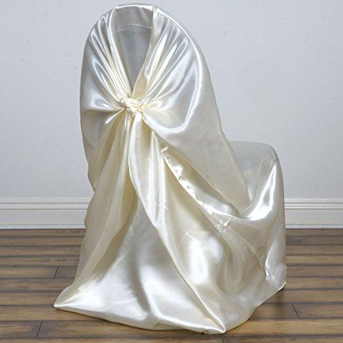BalsaCircle 10 Universal Satin Pillowcase Wedding CHAIR COVERS - Ivory