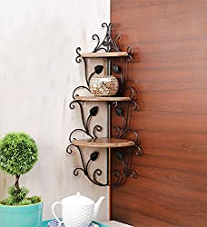 Onlineshoppee Wall Mounted Wooden corner rack home décor carved furniture shelves Size (LxBxH-13x13x30) Inch