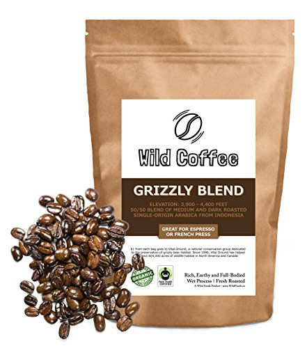 Wild Coffee, Whole Bean Organic Coffee, Fair Trade, Single-Origin, 100% Arabica, Austin Fresh Roasted (Grizzly Blend, 12 ounce)