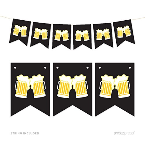 Andaz Press Hanging Pennant Party Banner with String, Beer Mugs Cheers!, 9-Feet, 1-Set, Decor Paper Decorations, Includes String, Retirement, Bachelor's Party, 21st Birthday Decor (Beer Party compare prices)