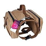 Lalawow Hunderucksack Rucksack Backpack Satteltasche für Hunde (Braun)