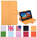 "HDE Universal 7"" Leather Tablet Case Cover Protective Folding Folio Stand (Yellow)"