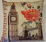 DECORATIVE THROW CUSHION PILLOWS LONDON FLOWER 15'X15' INSERT INCLUDED (2 PILLOWS)