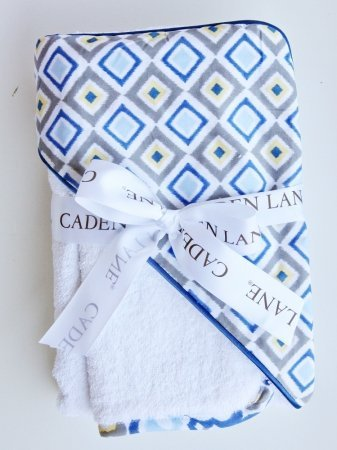 Caden Lane Ikat Collection Diamond Hooded Towel Set, Blue, Infant