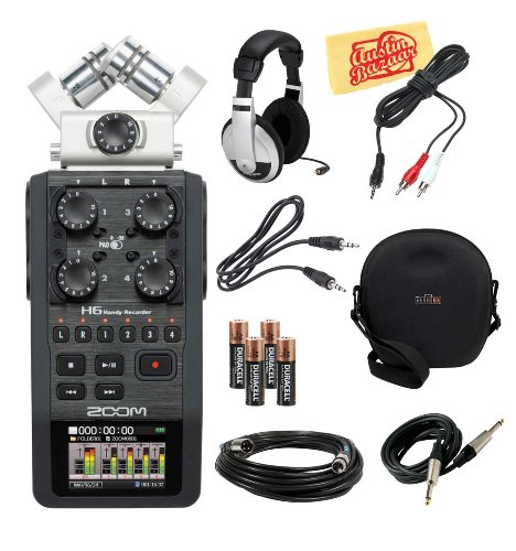 Zoom H6 Portable Handy Recorder Bundle With Hard Case, Mic Cable, Instrument Cable, Aux Cable, Headphones, Aa Batteries, 1/8-Inch-To-Rca Cable And Polishing Cloth