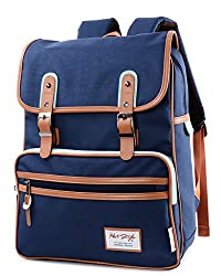 kmbuy - Unique vintage Korean style Unisex Casual Fashion School Travel Backpack Bags with Laptop Lining (40cm...