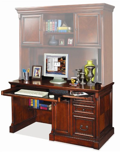 Buy Low Price Comfortable Kathy Ireland Home by Martin Furniture Mount View Single Pedestal Wood Computer Desk in Cherry Cobblestone (B0017IX2EA)