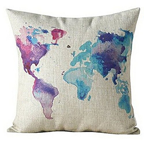 color world map purple cotton linen throw pillow case cover