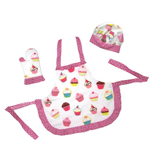 The Little Cook / Child'S 3-Piece Ruffled Cupcake Apron Set