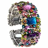Multi Colored Flower Hinged Cuff Bangle Bracelet