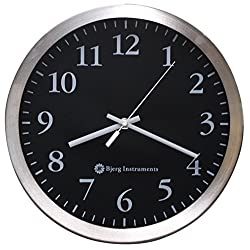Bjerg Instruments Modern 12 Stainless Silent Wall Clock with Non Ticking Movement