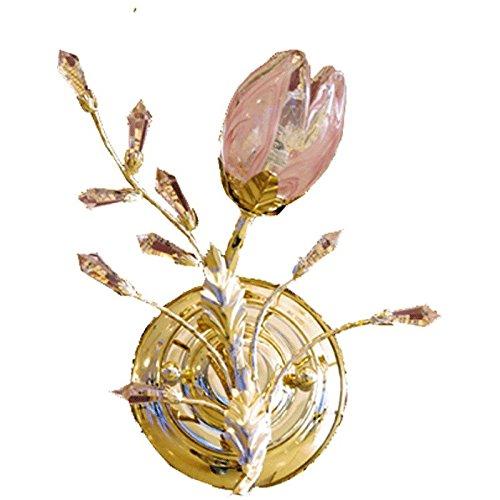 applique mural rose en cristal floral designe florentin armature en métal coloré or ampoules non-incl 2x60W ?14 230 V
