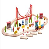 Wooden Train Set 60 Pieces Huge Education and Creative Toy