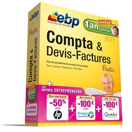 EBP Compta et Devis Factures Pratic 2011  + 1 an assistance téléphonique + offres Entrepreneurs