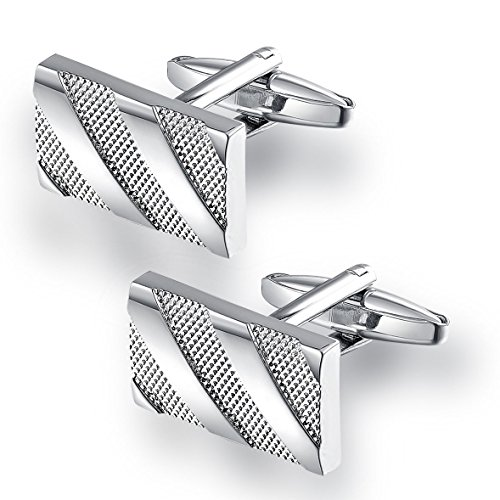 Areke Stainless Steel Mens 18K Platinum Plated Cuff Links,French Tuxedo Shirt Cufflinks Wedding Business Color Silver (Custom Pin Buttons compare prices)