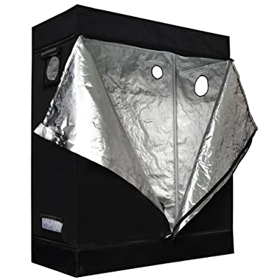 Reflective Mylar Indoor Hydroponic Grow Tent: 48x24x60 Inch (4ft x 2ft x 5ft)