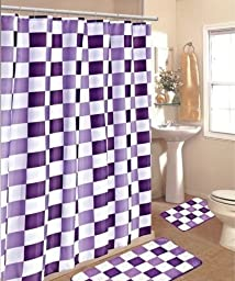 15pc Purple White Checkers Bathroom Bath Mats Set Rug Carpet Shower Curtain by Bathmats