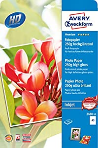 Avery Zweckform 2480-10 Premium Inkjet Fotopapier, DIN A3, einseitig beschichtet - hochglänzend, 250 g/m², 10 Blatt