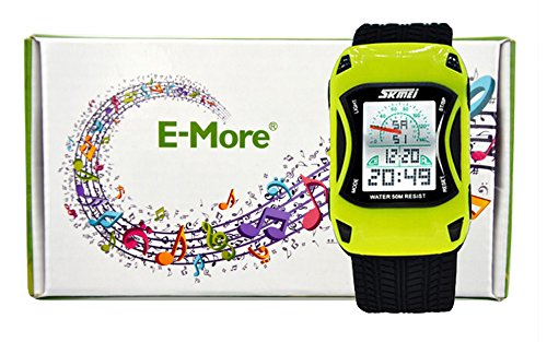 E-More® 50M Underwater Waterproof Sports Car Style Multifunctional Electronic Led Digital Wrist Watch For Children (Yellow)