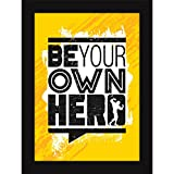 Inspirational Quotes Poster For Boys Room - Framed Wall And Desk Decor - Be Your Own Hero