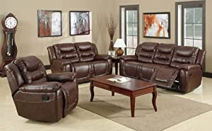 Mira Leather Burgundy Reclining Sofa Set