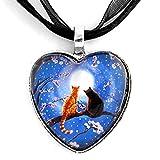 Blue Heart Necklace Two Cats Orange Tabby Black Cats Cherry Blossoms Zen Moon Handmade Art Pendant