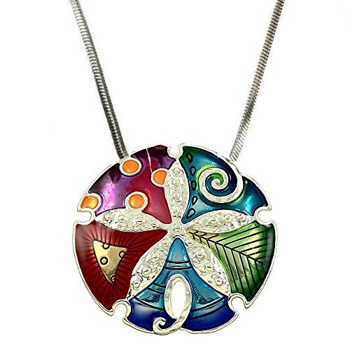 DianaL-Boutique-Silvetone-Colorful-Enameled-Sand-Dollar-Pendant-Necklace-with-18-Chain-Gift-Boxed-Fashion-Jewelry