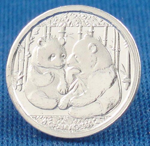 (3) 1 Gram .999 Pure Fine Solid Silver Giant Panda Sitting Design Bullion Ingot Coin