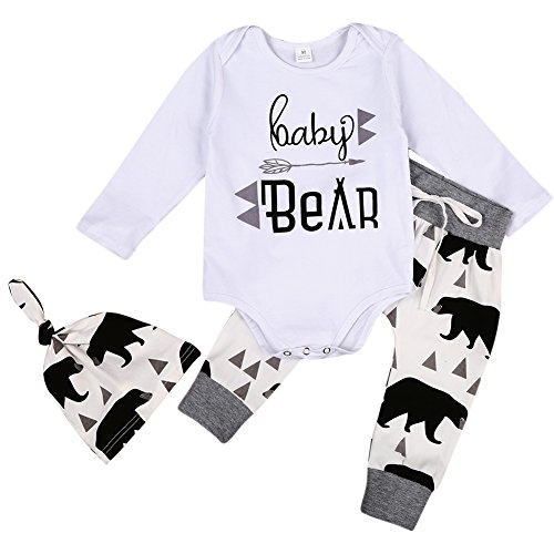 MIOIM 3pcs Baby Boys Girls Letter Romper Bear Pants Knotted Hat Coming Home Outfits (Daddy Bear Shirt compare prices)