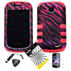 4 items Combo: ITUFFY LCD Screen Protector Film + Mini Stylus Pen + Case Opener + Black Pink Purple Zebra Design Rubberized Hard Plastic + PINK Soft Rubber TPU Skin Dual Layer Tough Hybrid Case for Straight Talk Samsung Galaxy Proclaim 720C SCH-S720C / Verizon Samsung Illusion i110