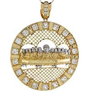 14k Real Two Toned Gold White CZ Accents Last Supper 8.89cm X 6.85cm Pendant