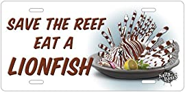 New Salty Bones Scuba Diving License Plate - Save the Reef Eat a Lionfish