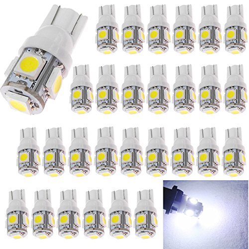 30-Pack 194 White LED Light 12V,120Lum 6500k AMAZENAR Car Interior and Exterior T10 5-SMD 5050 Chips Replacement For W5W 168 2825 Map- Dome- Courtesy- License Plate- Dashboard Side Marker Light (Bulb Led Car compare prices)