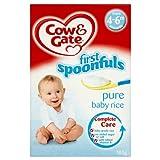 Cow & Gate First Cucharadas Pure bebé arroz de 4-6m en adelante 100g (paquete de 6 x 100g)