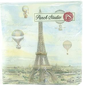 Punch Studio Luncheon Napkins- #43204 Balloons Over Paris