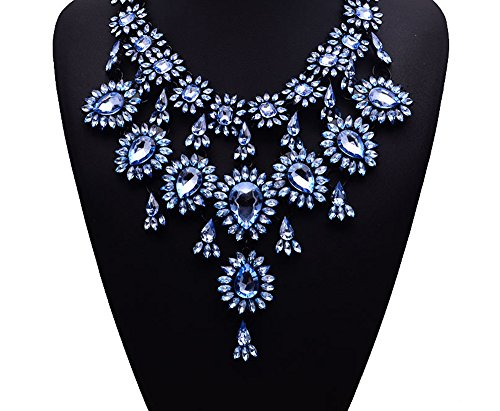 Gril Era Evening Party Luxury Colorful Rhinestone Crystal Chain Teardrop Shape Bib Temperament Necklace Womens(blue)