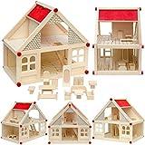 2-stöckiges Puppenhaus mit passenden Möbeln | Puppenstube aus Naturholz | Leicht aufzubauen | Spielhaus für Puppen