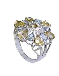Riyo Blue Foxystar Blue Topaz Handmade Jewelry Silver Thick Silver Ring Women 12 Srbto6-10015