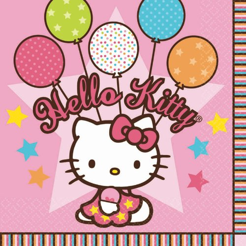 "Amscan Hello Kitty Balloon Dreams 6-1/2"" x 6-1/2"" Luncheon Napkins, 16-Count"