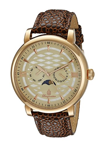 Burgmeister Men's Quartz Watch with Beige Dial Analogue Display and Brown Leather Bracelet BM217-395
