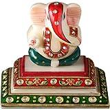 Aapno Rajasthan Kundan Work Marble Pedestal Siddhi Vinayak (10.16 cm x 10.16 cm)