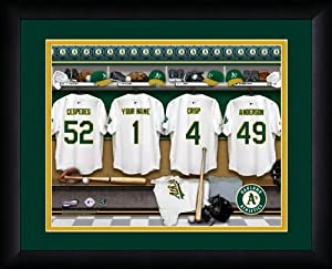 MLB Personalized Locker Room Print Black Frame Customized Oakland Athletics by You