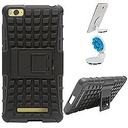 DMG Dual Hybrid Hard Grip Rugged Kickstand Armor Case for Xiaomi Redmi Mi4i (Black) + Octopus Mobile Phone Holder Stand