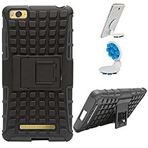 DMG Dual Hybrid Hard Grip Rugged Kickstand Armor Case for Xiaomi Redmi Mi4i (Black) + Octopus Mobile Phone Holder Stand
