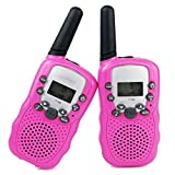 Portable Walky Talky for Kids- Long Range 1.8 Mile Two Way Radio 22Channel FRS GMRS Handheld Walkie Talkies Toy for Children Outdoor Camping (Pink)