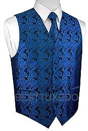 Brand Q Men\'s Tuxedo Vest, Tie & Pocket Square Set-Royal Blue Paisley-M