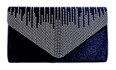 Girly HandBags New Satin Clutch Bag Evening Party Wedding Prom Bridesmaid Diamante Envelope -- Navy