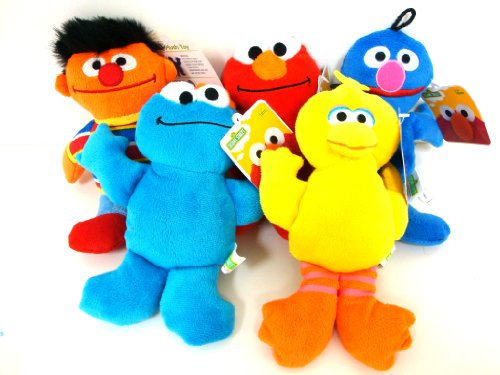Sesame Street Elmo, Cookie Monster, Ernie, Grover And Big Bird Beanie Plush Doll 10 Inches 5 Pieces Set front-972566