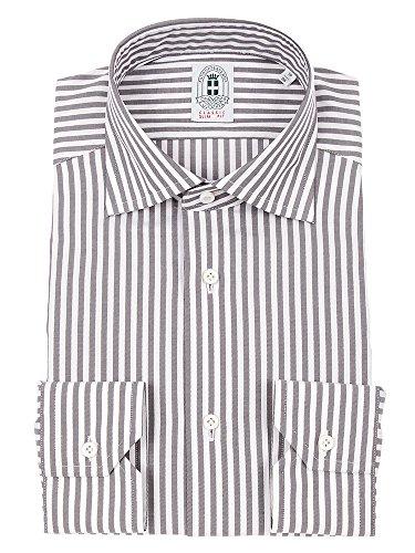 (ザ・スーツカンパニー) アントニオ・ラヴェルダ/ワイドカラードレスシャツ ロンドンストライプ 〔HQ〕 グレイッシュブラウン×ホワイト 41