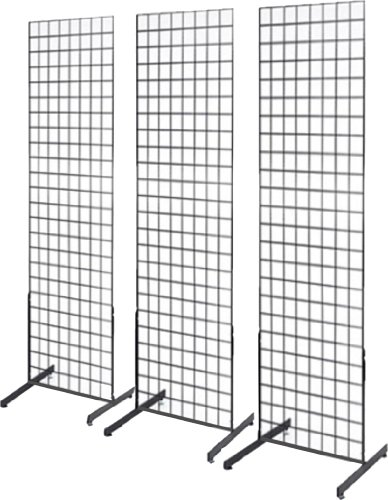 2' x 6' Grid Wall Panel Floorstanding Display Fixture with Deluxe T-Style Base, Black. Three-Pack Combo. (Panel Display compare prices)